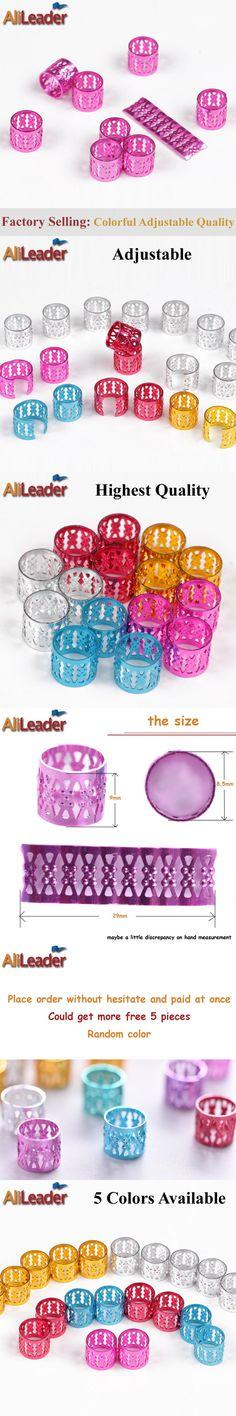 (100+5) Pcs/Lot Adjustable Dreadlock Beads Dread Beads Dreadlock Rings Pink Colorful Aluminium Ring Hair Beads