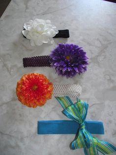 Making cute flower headbands for my girls!