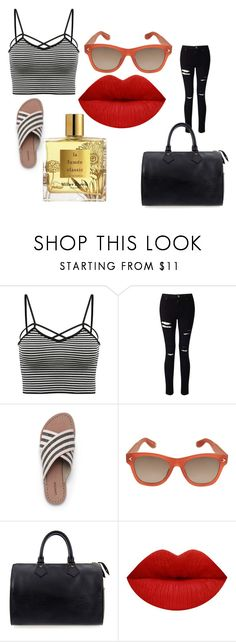 """Striped shirt"" by princessbae36 ❤ liked on Polyvore featuring Miss Selfridge, Lands' End, Givenchy, Louis Vuitton, Miller Harris and stripedshirt"