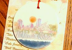 Hot out of the kiln! ORNAMENT handmade Milwaukee Skyline ceramic by FaithAnnOriginals, $24.00