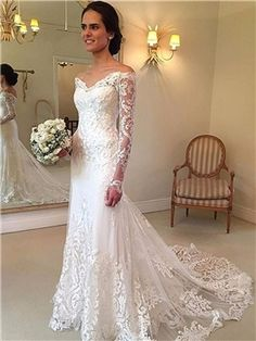 Off the Shoulder Long Sleeves Lace Appliques Wedding Dress - m.tbdress.com