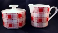 Red White Plaid Creamer & Sugar Bowl Stoneware Japan