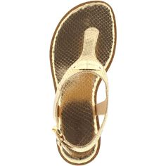 Michael Kors Sandals - MK Plate Thong Sandal Metallic Pale Gold - in... ($110) ❤ liked on Polyvore featuring shoes, sandals, summer sandals, strappy thong sandals, flat strap sandals, strap sandals and flat thong sandals