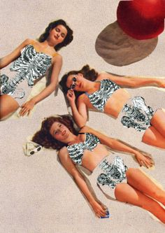 Skeleton Beach by Toshiaki Uchida ( collage / tanning / body image / art / mixed media )