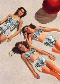 Skeleton Beach by Toshiaki Uchida ( collage / tanning / body image / art / mixed media )