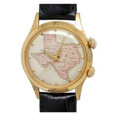 Swiss Gilt Alarm Wristwatch with Map of Texas circa 1970s