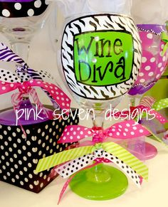 WINE DIVA Wine Glass by pinksevendesigns on Etsy, $22.00