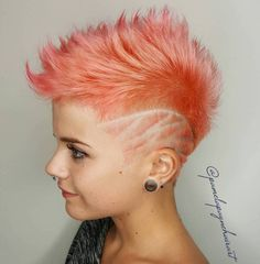 Pastel Pink Spiky Fauxhawk Undercut Pixie, Undercut Hairstyles, Pixie Hairstyles, Cool Hairstyles, Shaved Hairstyles, Wedding Hairstyles, Undercut Fade, Men's Hairstyle, Medium Hairstyles