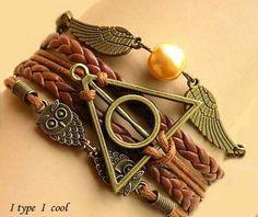 bronze Harry potter bracelet owl wings pearl by itypeicool on Etsy, $3.99