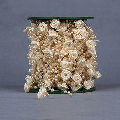 Mancha-Rose-Flowers-Pearl-Perla-Guirnalda-Carrete-Cuerda-Boda-Fiesta-Centro-De-Mesa-Decoracion