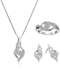 Sterling Silver Diamond Ring, Earrings, and Pendant Necklace Jewelry Set cttw, J-K Color, Clarity) * More info could be found at the image url. Sterling Silver Diamond Rings, Silver Diamonds, Sterling Silver Earrings, Natural Diamonds, Jewelry Sets, Fine Jewelry, Jewelry Necklaces, Women Jewelry, Promise Rings For Her