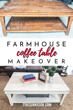 Learn how to rescue a coffee table headed for the trash into a modern Farmhouse treasure with this tutorial. This amazing makeover using Chalk Paint would make Joanna Gaines smile! Not only is this a cheap DIY but it is super easy too! Coffee Table Refinish, Coffee Table Makeover, Painted Coffee Tables, Diy Coffee Table, Coffee Table With Storage, Coffee Table Design, Diy Table, Refinished Table, Chalk Paint Table