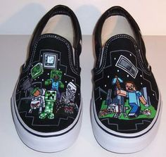 Misguided Designs Hand Painted Gifts. Canvas shoes with the video game Minecraft caricatures painted on them.