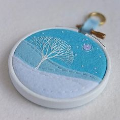 "Hand-embroidered+Winter+Landscape+with+Tree+in+3""+Painted+Wooden+Hoop £17.50"