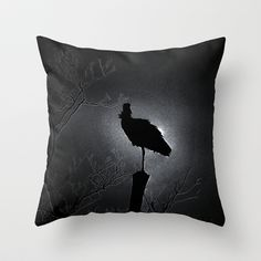 Stork in the night Throw Pillow by Angelika Kimmig - $20.00