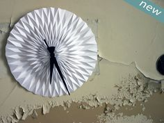 Origami WALL CLOCKs circl zigzag paper by LampshadoLamps on Etsy