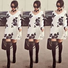 Lace Sleeve Floral Dress FINAL PRICE Adorable dress! Can also be worn as a tunic top! In very good condition. Check out the rest of my closet to see the freebies I offer! Bundle and save :) cheaper on Ⓜ️ Dresses Mini