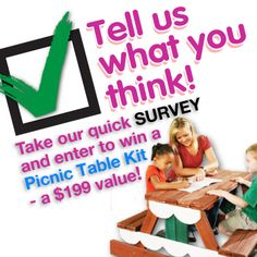 Enter to win... Survey ends today!  Free Picnic Table!  http://www.swing-n-slide.com/SurveyLandingPage.aspx?source=pinterest0715