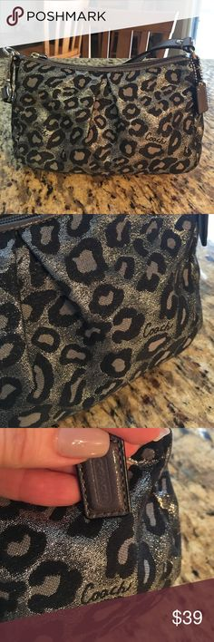 Coach Petite Metallic Hobo This is the cutest little bag! Pre-Loved, only worn a handful of times. Minor signs of wear on the outside and some dirt/makeup stains inside. The metallic animal print makes this the perfect bag for a night out!  Please zoom in and review pictures closely. Coach Bags Mini Bags