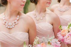 pink bridesmaids necklaces dresses blush