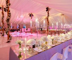 Lots of candles and the pink lighting make this elegant all-white wedding reception tent even more fabulous! White Wedding Decorations, Quinceanera Decorations, Tent Decorations, Reception Decorations, Wedding Themes, Wedding Designs, Wedding Ideas, Quinceanera Ideas, Quinceanera Dresses
