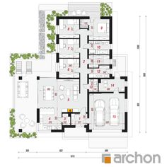 gotowy projekt Dom w słonecznikach 2 rzut parteru Model House Plan, House Plans, Farmhouse Design, Terrazzo, Home Projects, Bungalow, Sweet Home, Floor Plans, How To Plan