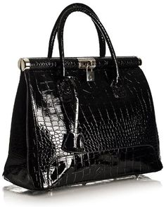 Big Handbag Shop Womens Mock Croc Padlock Satchel Bag