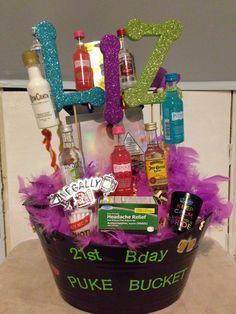 birthday gift basket I made for my sister in law. birthday gift basket I made for my sister in law. Mini liquor bottles, foam letters from hobb Birthday Gift Baskets, 21st Birthday Gifts, 21st Gifts, Birthday Stuff, Craft Gifts, Diy Gifts, Mini Liquor Bottles, Birthday Shots