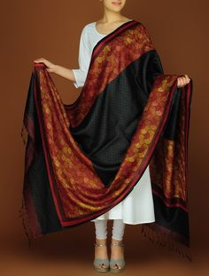 Buy Red Black Silk Block Printed Dupatta Accessories Dupattas A Class Apart Colorful Sarees and Online at Jaypore.com