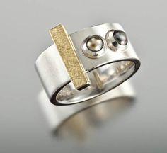 Ring of Sterling Silver, 18KT Yellow Gold and Tahitian Keshi Pearls | Janis Kerman Design