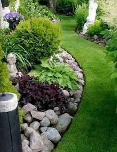 25 Beautiful Front Yard Rock Garden Landscaping Design Ideas ~ GODIYGO.COM Backyard Garden Design, Diy Garden, Garden Landscape Design, Landscape Steps, Garden Shade, Landscape Edging, Small Front Yard Landscaping, Backyard Landscaping, Landscaping Ideas