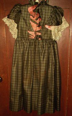 Antique Victorian 1890's Child's 2 PC Plaid Silk Dress Metal Fringe Jacket | eBay