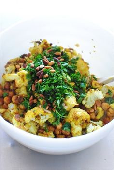 Roasted Curried Cauliflower with Chickpeas and Grains