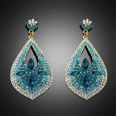 1Pair Beautiful Lady Wedding Party Shining Blue Rhinestone Drop Dangle Earrings