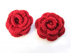 Crocheted red cotton flower elastic hair ties  Set by katrinshine, $9.50