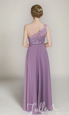 Long One Shoulder Lace Bridesmaid Dress with Chiffon Skirt TBQP363