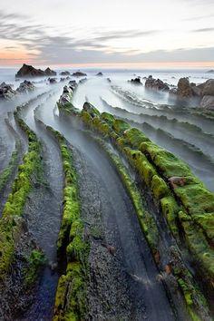 Flysch Rock Formation In Zumaia, Spain.