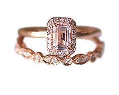Rlovehome 2PCS Emerald Cut 4x6mm 0.85ct Pink Natural VS Morganite Diamonds Promise Ring Set Engagement Ring Set Wedding Ring Set Anniversary Ring Set in Solid 14k Rose Gold (J) Rlovehome http://www.amazon.co.uk/dp/B01AJMGAY8/ref=cm_sw_r_pi_dp_.P-Wwb1MR3921