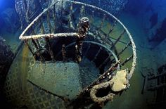 Sitting on its side at the bottom of the Aegean Sea, Titanic's lesser-known sister ship is set to become a spectacular underwater seabed museum more than 90 years after the gigantic and luxurious Olympic-class ocean liner met her demise when she sank in 1916. The wreck of Britannic lies at a depth of 400 feet (122 meters). Covered in barnacles, the fireman's staircase can be clearly seen on the Britannic wreck.