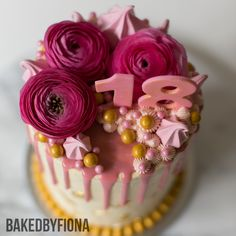 """Sydney Cakes, Baked by Fiona 6"""" tower cake in cream, gold and pink. #birthdaycake #cake"""