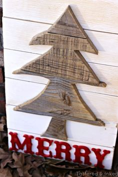 Merry Salvaged Tree Sign by Tattered and Inked
