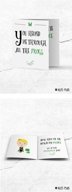 Originele kaart om je bruidsmeisje te vragen! Prince & Frog en coole illustratie. Wedding. Trouwen. Cadeau. Kaart. Inspiratie. Design. Getuige. Huwelijk.