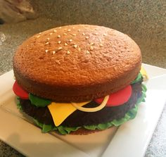 Burger cake made for 11 year old boy birthday party #burgercake #boycake…