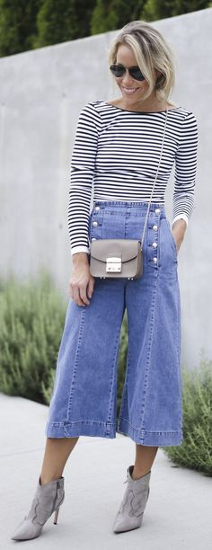 Stripe Long Sleeve Tee Button Denim Culottes Snake Pointy Booties by Happily Grey