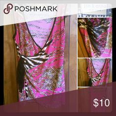 Jon & Anna NY Pink Silky Animal Print Swag Tank Medium true to size bright pink tank with animal print. It has a swoop on the bottom and comes to the right side (while wearing)where it is accented with black lace. Jon & Anna NY Tops Tank Tops