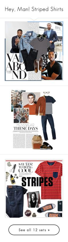 """""""Hey, Man! Striped Shirts"""" by polyvore-editorial ❤ liked on Polyvore featuring menswear, stripedshirts, Vagabond, H&M, A.P.C., HUF, John Lobb, Dr. Denim, Daniel Wellington and Ray-Ban"""