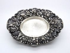Yogya 800 Silver Oval Candy Bowl 111 Grams - Oriental Art Deco Tableware - 1930s Collectible - Lotus Floral Design - Antique Silverwork  at VintageArtAndCraft
