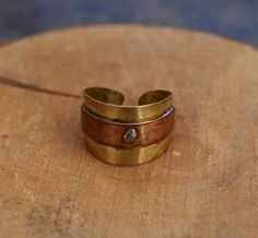 Copper and brass ring  handmade ring  adjustable di ShockedShop