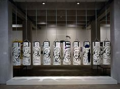 """Pop art meets boxing in the Andy Warhol and Jean-Michel Basquiat collaboration,  """"Ten Punching Bags (Last Supper),"""" 1985-1986. Andy Warhol Museum, Pittsburg, PA."""