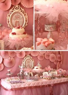 Pretty use of tule and hanging pink crystal ornaments.